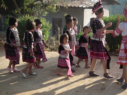 During the Hmong New Year, each village joins in a giant parade.