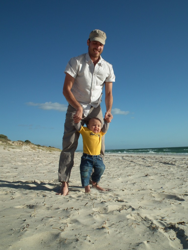Rabbi Ben playing with Akiva at Tennyson Dunes, Adelaide, South Australia