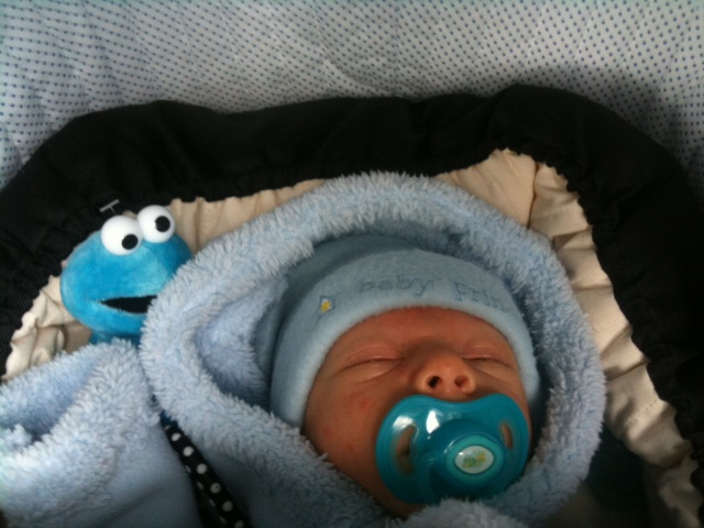 When he was a newborn, we could sometimes get Akiva to take a dummy (or pacifier)... but most of the time he didn't like it much!