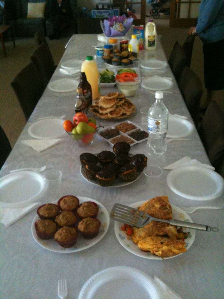 A brunch set up at our home, ready to feed as many guests as walk in the door!