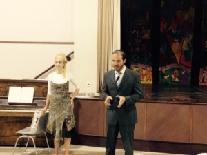 Rabbi Ben and Rebbetzin Rachel deliver thanks and awards after the havdallah concert